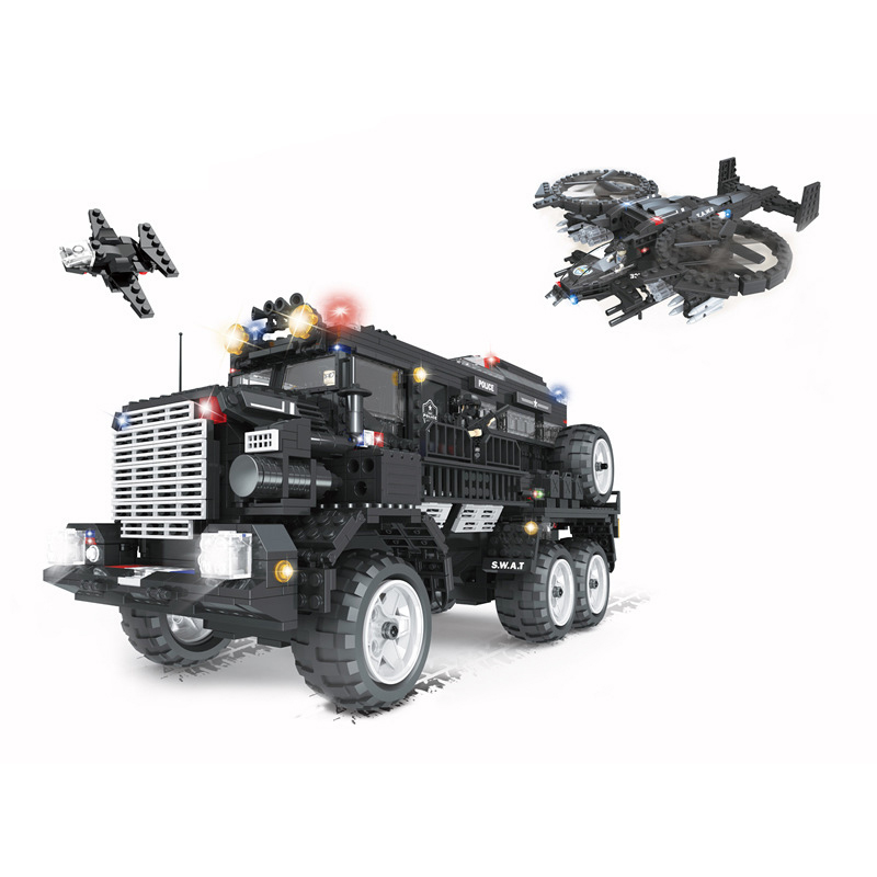 цена на 2393Pcs Police Series Toys SWAT Aegis Anti Riot Armoured Vehicle Model Building Blocks Kits Compatible Legoings Bricks Kid Gift