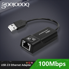 GOOJODOQ USB Ethernet adaptateur USB 2.0 carte réseau vers RJ45 Lan pour Win7/Win8/Win10 ordinateur portable Ethernet USB