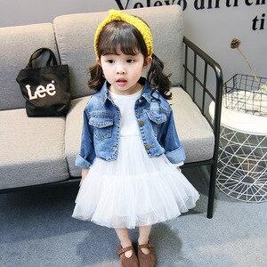 Image 2 - Trajes de primavera para niñas, Moda Infantil, vestido inferior + chaqueta vaquera, 2 uds. De ropa, vestido de malla, conjuntos de ropa, 2019