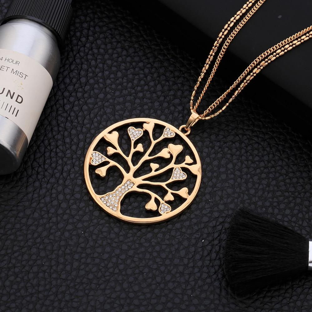 Pohon Kehidupan Liontin Kalung untuk Wanita Vintage Bersinar Kristal - Perhiasan fashion - Foto 5