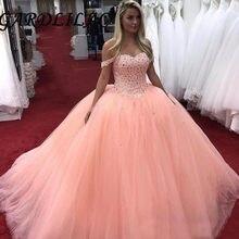 Luxo cristal quinceanera vestidos de baile fora do ombro tule formatura vestidos formais doce 16 vestido de 15 anos