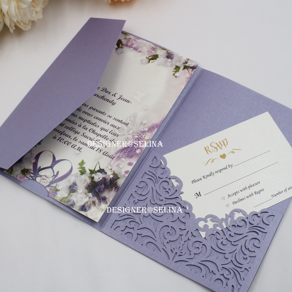 Us 80 0 50pc Lot Lavender Laser Cut Wedding Invitations With Rsvp Card Invitation For Quinceanera Bridal Shower Birthday In Cards