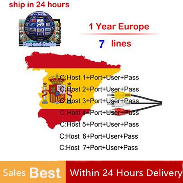 Cccam for 1 Year 7 clines Europe Spain Germany Poland Italy for DVB S2 TV Receiver V7 V8 Super via USB WIFI satellite receiver