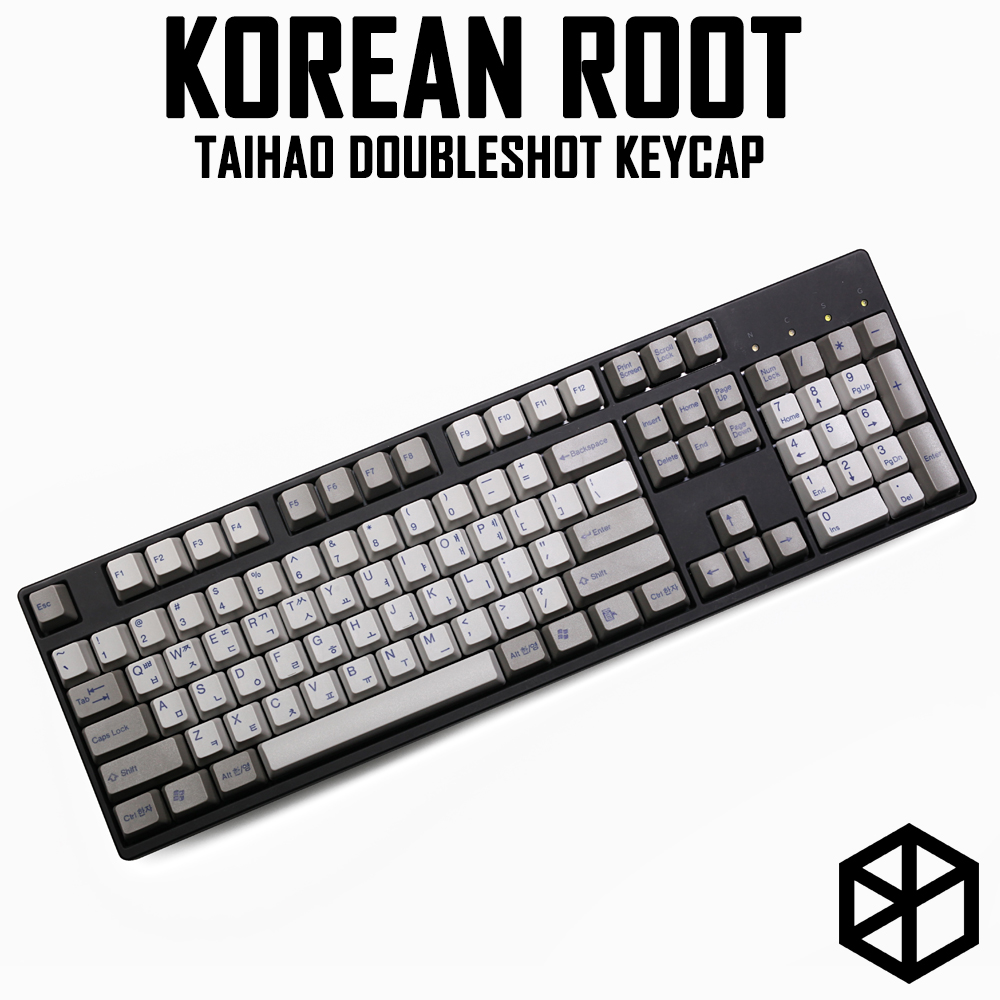 Taihao Abs Double Shot Korean Root Letter Kr Language Keycaps For Diy Gaming Mechanical Keyboard Color Of Grey Light Grey Blue