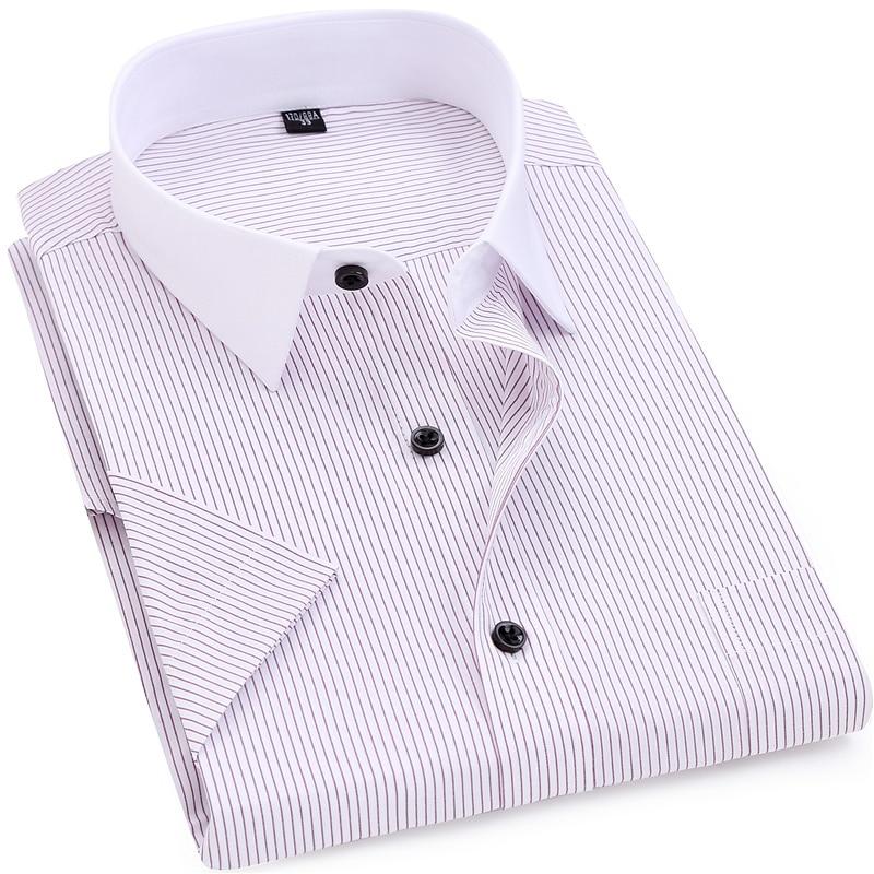 الرجال مخطط قميص 2018 الصيف الرجال الذكية عارضة قصيرة الأكمام رفض طوق اللباس قميص أبيض طوق تصميم 5xl 6xl 7xl 8xl