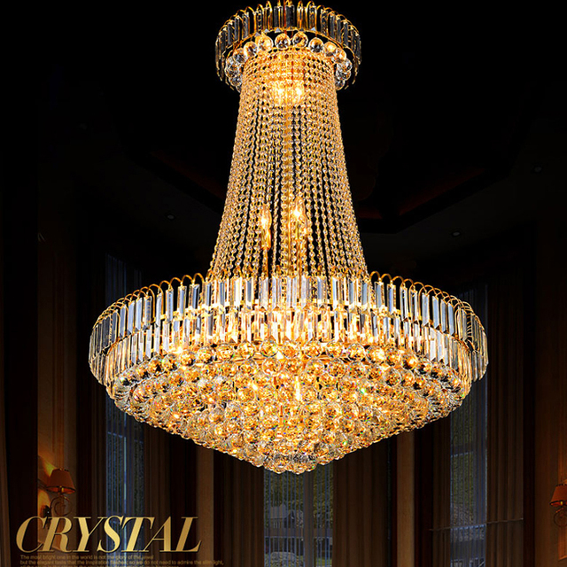 Luxury European Style Golden Crystal Chandelier Staircase Lamp Living Room  Restaurant Chandelier Duplex Building Crystal Lamps