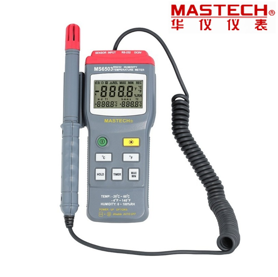 2017 New Digital Thermo Hygrometer Thermometers Temperature Humidity Meter Tester W Timer & Rs232 Interface Mastech Ms6503 high accuracy mastech ms6506 digital thermometers temperature gathering table meter