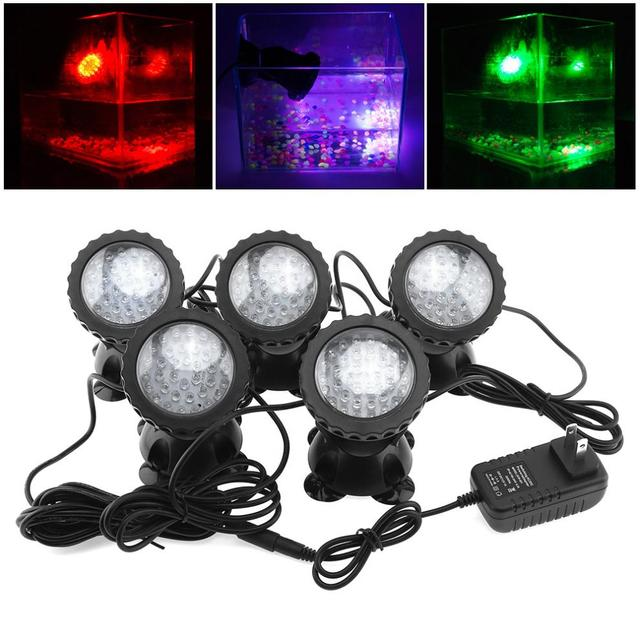 5pcs Waterproof LED Spotlight 12V 36 with 7 Colors Changing for Garden Fountain Fish Tank Pool Pond Decoration