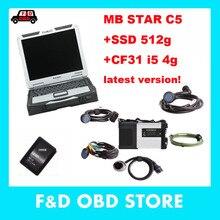 Лучшее Качество MB STAR C5 Wifi диагностический интерфейс с cf31 i5 ноутбук V2019.12 MB Star SD Подключение C5 программное обеспечение работает напрямую