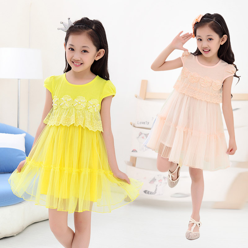 Children's Wear New Summer Korean Girl's  Baby Princess Dress Kids Clothing Flowers Mesh Pink Yellow кофемашина delonghi magnifica ecam22 110b черный