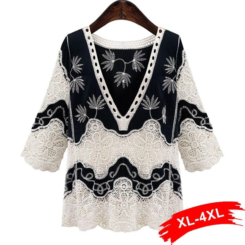 Plus Size White Lace   Blouse     Shirt   Women Top 4Xl 5Xl Casual Hollow Out Deep-V Neck Colorblock Blusas Elegant Cool   Blouse