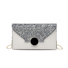 New brand Womens splice clutch bag fashion banquet glitter for women 2019 female sequin evening handbag chain shoulder