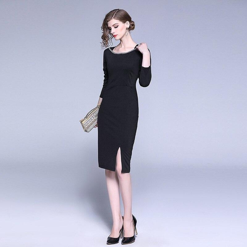 Plus Size Sheath Bodycon Dress Spring Autumn O-neck Long Sleeve Split Wrap Bandage Dress Women Vestido Midi Black Women Dresses