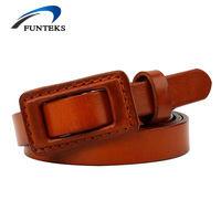 FUNTEKS 8 Colors Cow Leather Thin Belt Woman Vintage Leather Belt Women S Hypoallergenic Smooth Buckle