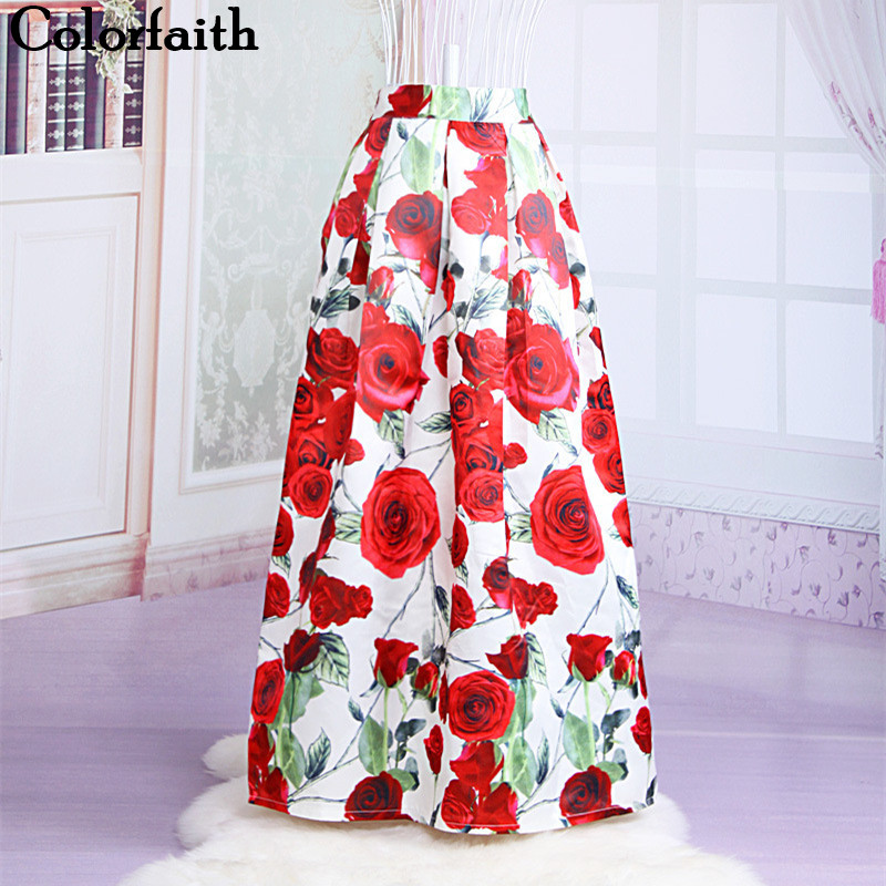 Muslim Women100cm Non-transparent Fashion Satin Long Skirt Vintage Retro Rose Floral Print High Waist Pleated Maxi Skirt  SK064 pink floral towels