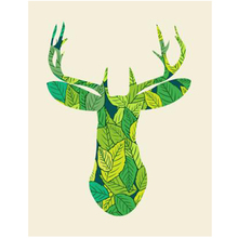 WEEN Green Deer-DIY Painting By Numbers Kit, Acrylic Paint Number, Modern Wall Art Picture, Canvas Decor 40X50cm