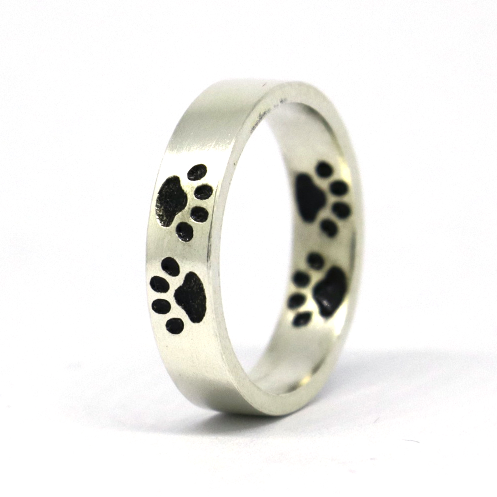 Size 4 16 Matte Flat Sterling Silver Band Ring with Oxidized Puppy Feet Paw R238