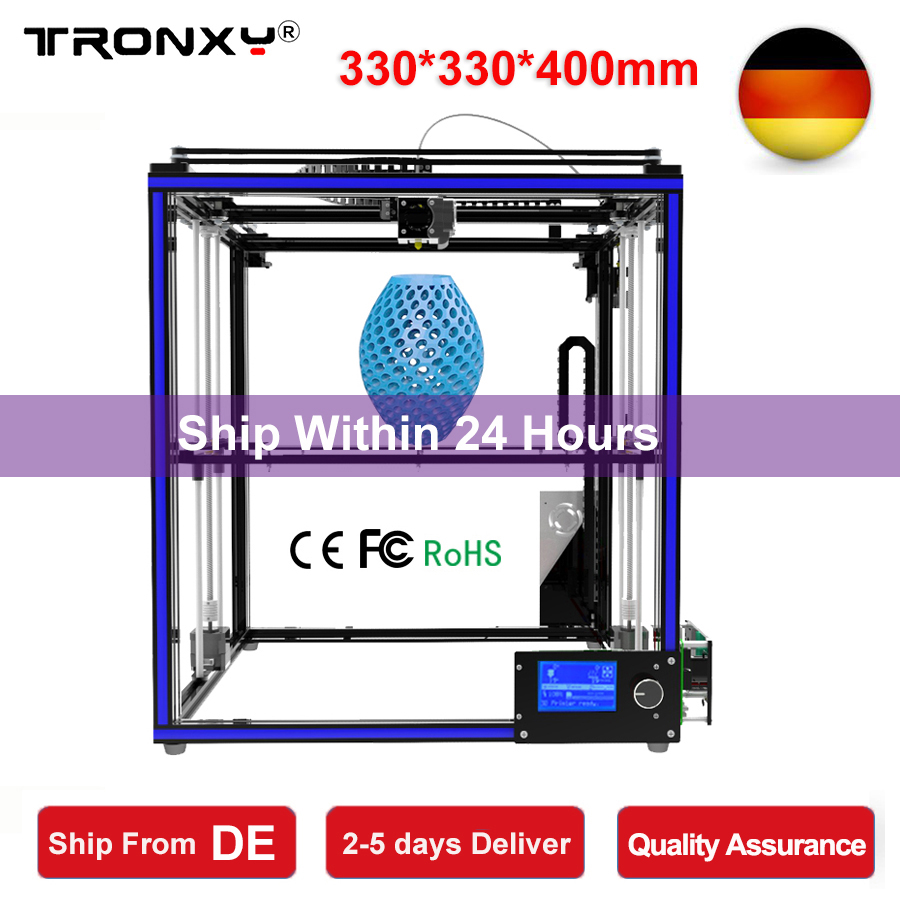 Tronxy 3D Printer I3 Impresora 3D DIY Kit Full Metal Large Printing Size 330*330*400mm LCD Screen 3D Printer 8G SD Card as gift tronxy 3d printer all metal upgrade frame 3 3 lcd screen dual z axis extruder 3d printer diy kit 10m filament 8g sd card gift