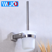 Toilet Brush Holder Stainless Steel Detachable Modern Toilet Brush Holder Set Glass Cup Wall Mounted Bathroom Cleaning Tool Rack chrome wc toilet brush holder modern 304 stainless steel and copper wall mounted cleaning hanging decor bathroom accessories