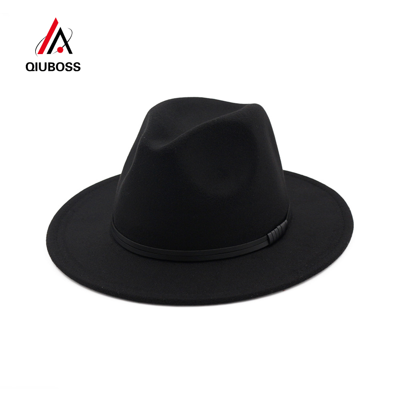 095b350c0c730 QIUBOSS Vintage Chapeau Fedoras Leather Cord Decoration Wide Brim Wool Felt  Bowler Women Men Trendy Jazz