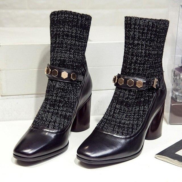 nouveau type de tricot de laine en bas en bottes bottes bottes et chaussettes tête carrée,black