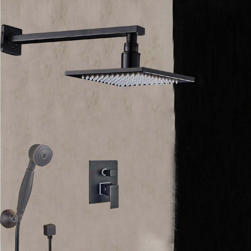 Solid Brass Oil Rubbed Bronze Square Rain Shower Head Valve Mixer Tap W/ Hand Shower Wall Mounted