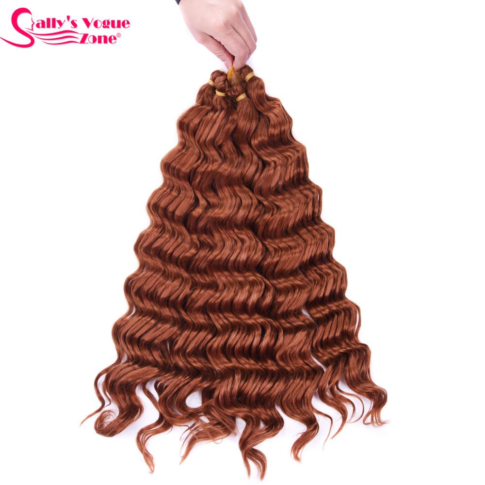 Sallyhair High Temperature Synthetic Deep Wave Twist Crochet Braids Black Color Bulk Hair Extension  (16)