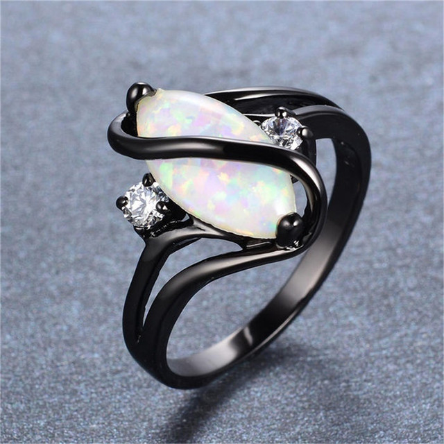 Oval Opal Stone Black Gold Color Ring