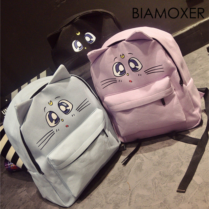 Biamoxer Sailor Moon Luna Cat Canvas Anime School Student Girl Cute Bag Packpack Bookbag