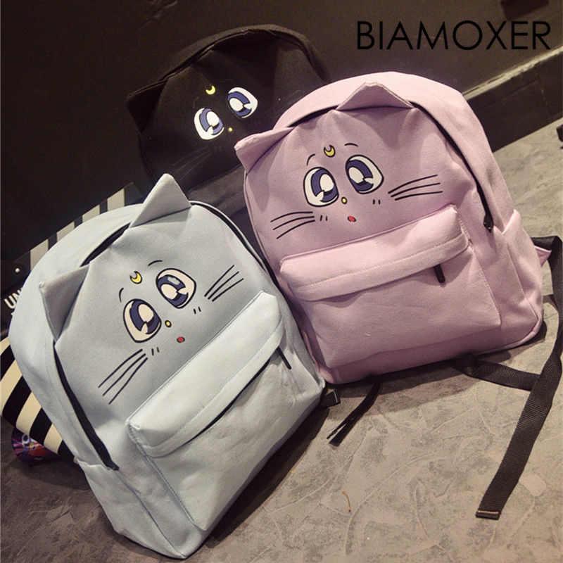 Biamoxer Thủy Thủ Moon Luna Mèo Vải Trường Phim Hoạt Hình Cô Gái Sinh Viên Dễ Thương Túi Packpack Bookbag