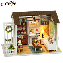 CUTEBEE Doll House Miniature DIY Dollhouse With Furnitures Wooden House Toys For Children Gift Happy Times Z008(China)