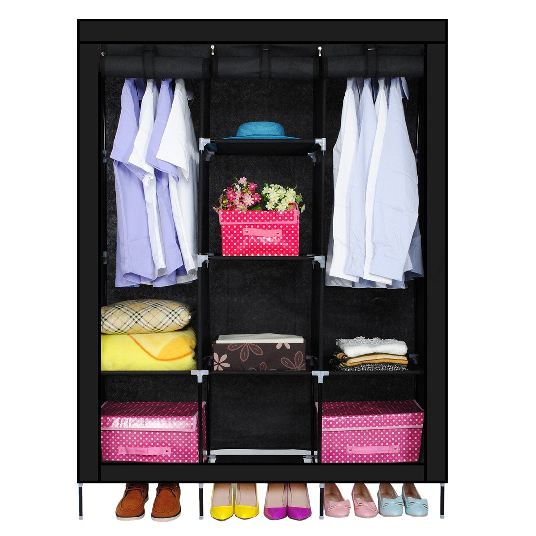 New triple nonwovens wardrobe home bedroom decor clothes clothing storage wardrobesblack