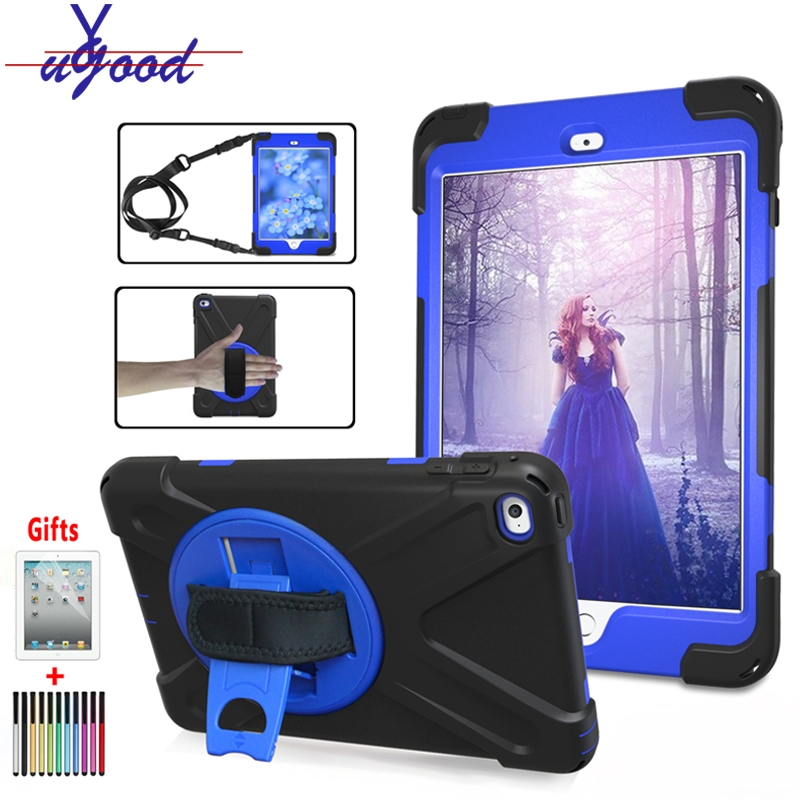360 Rotating Kickstand Hand Shoulder Strap Case For Ipad Mini 4 Mini 1/2/3 Shockproof Cover Case With Screen Protector+gifts Without Return Tablets & E-books Case