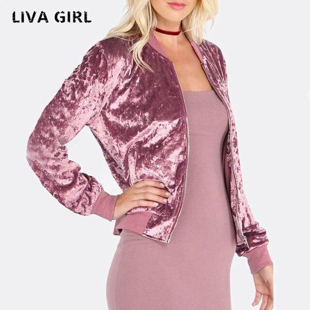 d7e8d44671 liva girl 2018 Women Sequin Coat pink Bomber Jacket Long Sleeve Zipper  Streetwear Jacket Preppy Loose Casual Basic Coat