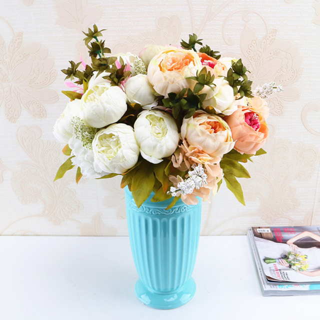 13 Branches Small Fresh Artificial Silk Peony Bouquets Flowers For Wedding Party Office Hotel Home