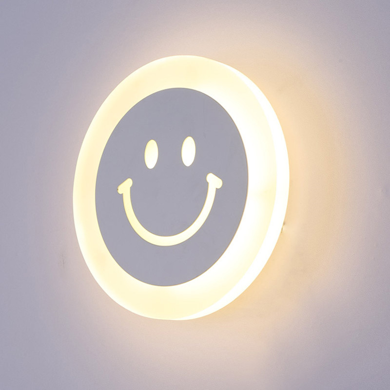 Children room 7.9 Smile Face Led Wall Lamp luminaria with 10W led strip light Bedroom kids room Modern Acrylic Wall Light cartoon kids light led beside toys kids pendant light lamp kids room night light for children bedroom hanging head lamp