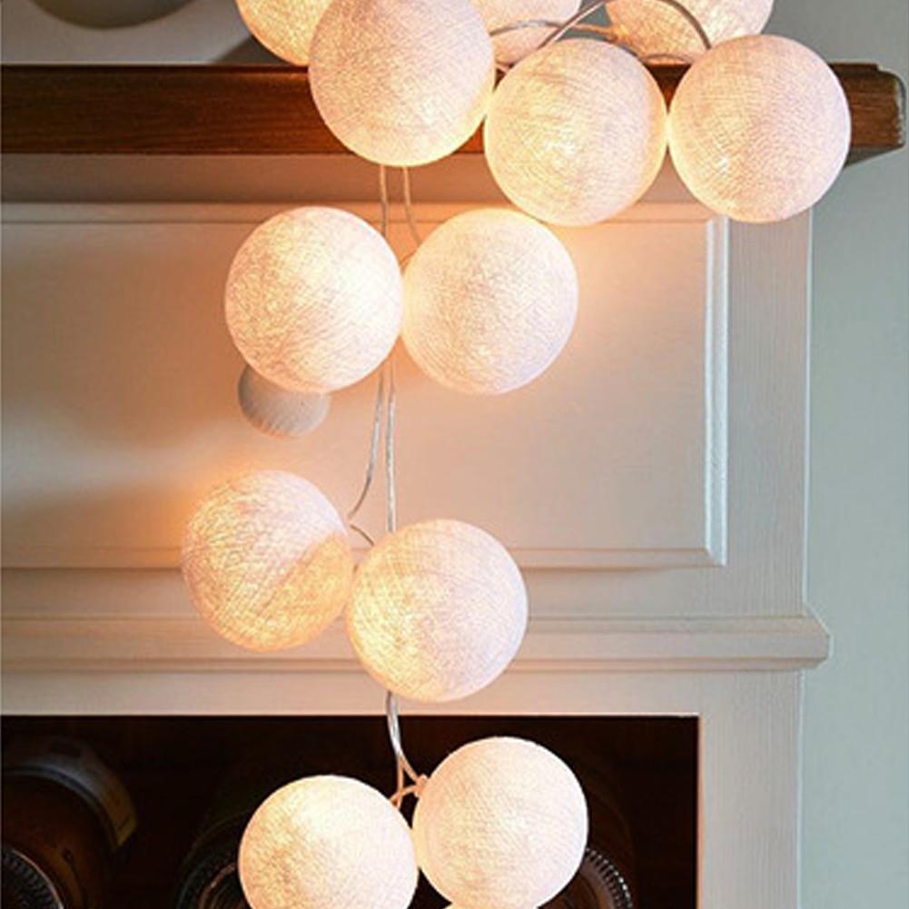 Atmosphere Lamp Practical DIY Garland Cotton Ball String Light Festival Fairy Light Multicolor LED Lamp Christmas Decor Durable