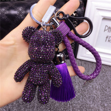 Luxury Handmade Rhinestones Crystal Bear Keychain Leather Tassel Car Keyring Key Chain Handbag Accessories Gifts