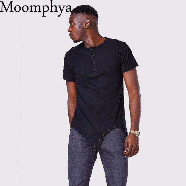Moomphya Fashion street wear men's hi-street t-shirt Button neck tshirt Longline sharp Asymmetrical hem men funny t shirt