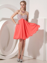 Short Mini A-linie Coral Chiffon Prom Kleider Schatz Perlen Empire-Taille Cocktailkleider Sommer Party Kleider cd6575