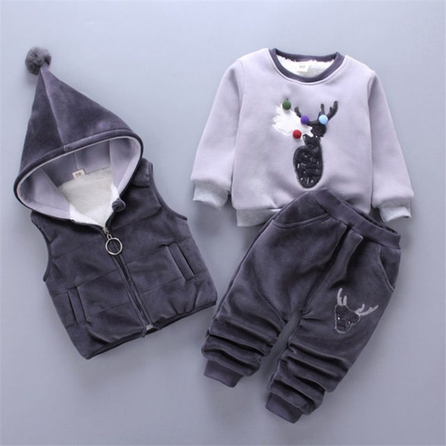 58982adc138e Newborn baby girls winter clothes cartoon printed fleece sweater pants 3pcs  infant baby boys clothing set kids clothes tracksuit