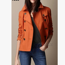 S-3XL spring autumn new women's brand fashion slim of high-end short double-breasted trench coat plus size outerwear