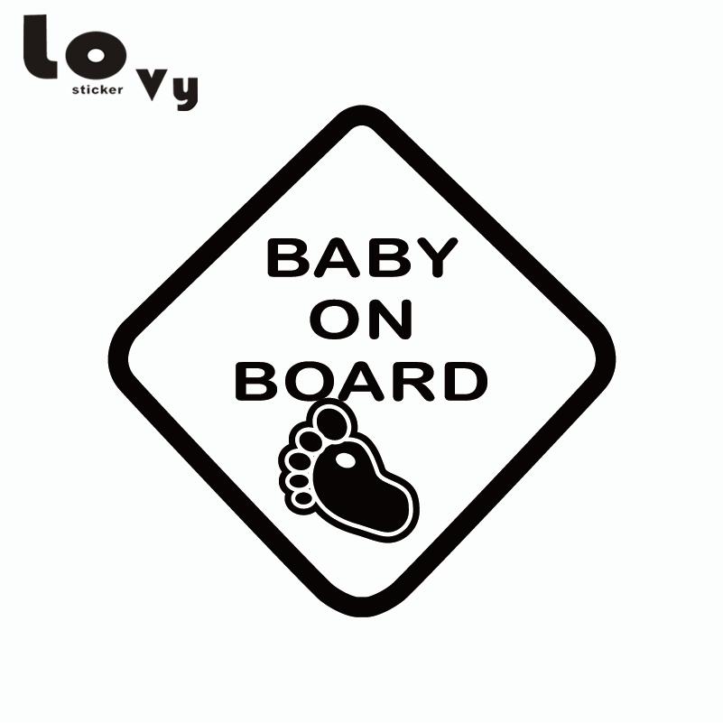 Bebek Gemide Uyarı Işareti Vinil Araba Sticker / Bebek Ayaklar Araba Çıkartması