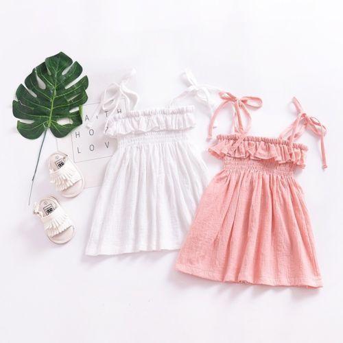 Infant Toddler Kids Baby Girls Summer Dresses Strap Linen Cotton Children  GIrl Sundress Sleeveless Ruffle Baby Dresses 49495d3a3a53