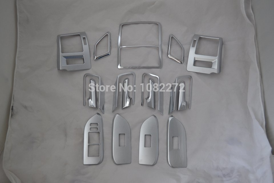 17pcs Instrument Desk cover trim + Inner handle frame Interior Molding Trim For Toyota LC Prado FJ150 2014 2015 new chrome 4pcs interior door handle cover frame trim cover for l and rover freelander 2 lr2 2008 2015 interior mouldings