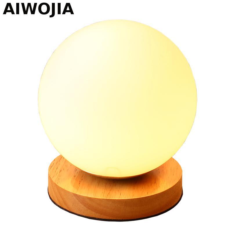 Candeeiros de mesa Para Sala de estar Lâmpadas Led Para Decoração de Casamento Mesa Conduziu A Lâmpada De Wood E27 vidro luz da noite