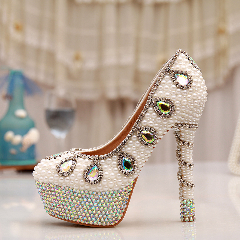14cm High Heel Party Prom Shoes Rhinestone Platform Pumps AB Crystal Heel Wedding Shoes White Pearl Bridal Shoes white pearl high heel shoes crystal platform bridal wedding shoes diamond rhinestone women shoes formal gown prom shoes