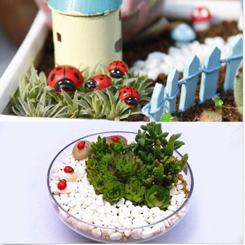 Купить с кэшбэком 10Pcs Mini Cabochon Ladybug Fairy Garden Miniatures Garden Ornament Decoration Micro Landscape Bonsai Figurine Resin Crafts