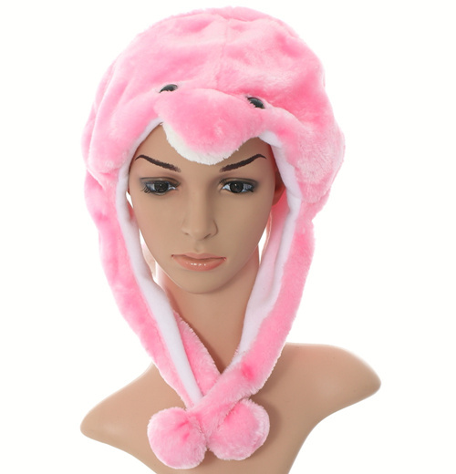 Douchow, унисекс, для взрослых, подростков, детей, девочек, мальчиков, Мультяшные животные, шапка, милая, белая, розовая, синяя, дельфин, плюшевая, зимняя, теплая, шапка, шапочка - Цвет: Розовый