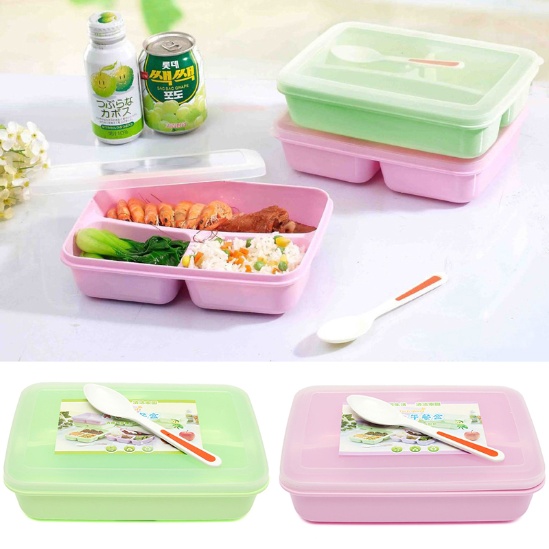 1pc lunch box 3 compartments with spoon bento box student food container box diy kitchen home. Black Bedroom Furniture Sets. Home Design Ideas